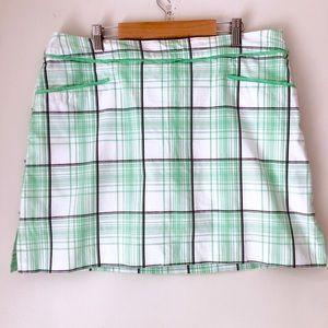 IZOD Green and White Plaid Skort Size 14